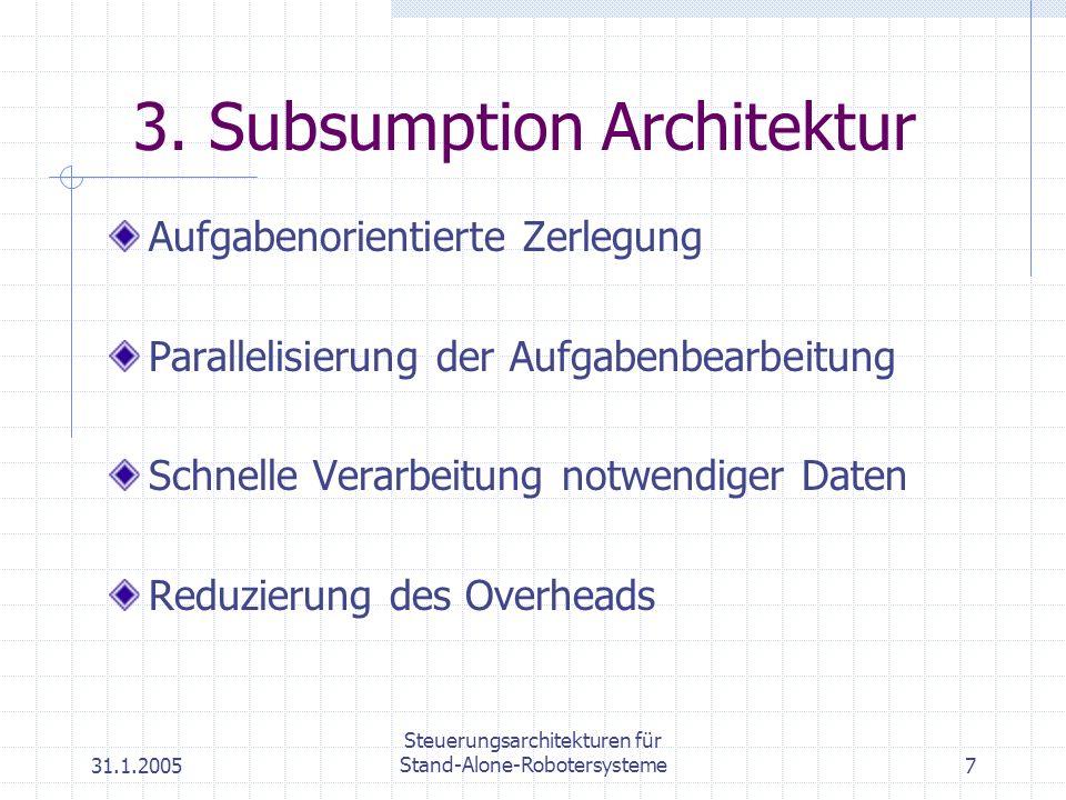 31.1.2005 Steuerungsarchitekturen für Stand-Alone-Robotersysteme7 3. Subsumption Architektur Aufgabenorientierte Zerlegung Parallelisierung der Aufgab