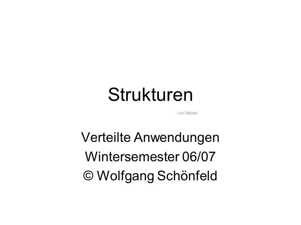 Strukturen Verteilte Anwendungen Wintersemester 06/07 © Wolfgang Schönfeld von Netzen