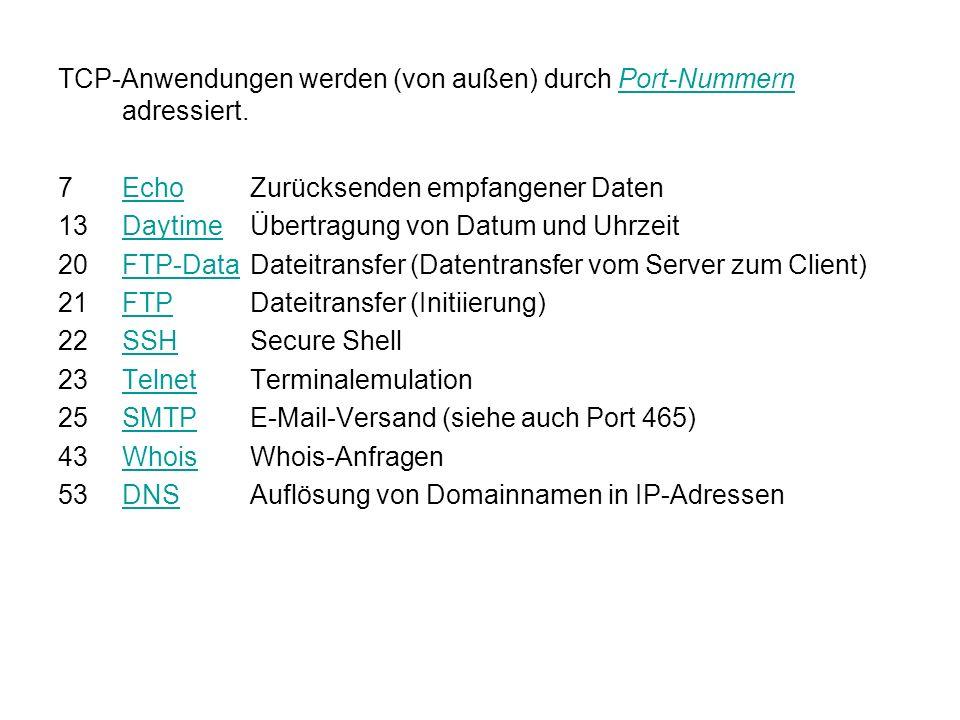 TCP-Anwendungen werden (von außen) durch Port-Nummern adressiert.Port-Nummern 7EchoZurücksenden empfangener DatenEcho 13DaytimeÜbertragung von Datum und UhrzeitDaytime 20FTP-DataDateitransfer (Datentransfer vom Server zum Client)FTP-Data 21FTPDateitransfer (Initiierung)FTP 22SSHSecure ShellSSH 23TelnetTerminalemulationTelnet 25SMTPE-Mail-Versand (siehe auch Port 465)SMTP 43WhoisWhois-AnfragenWhois 53DNSAuflösung von Domainnamen in IP-AdressenDNS