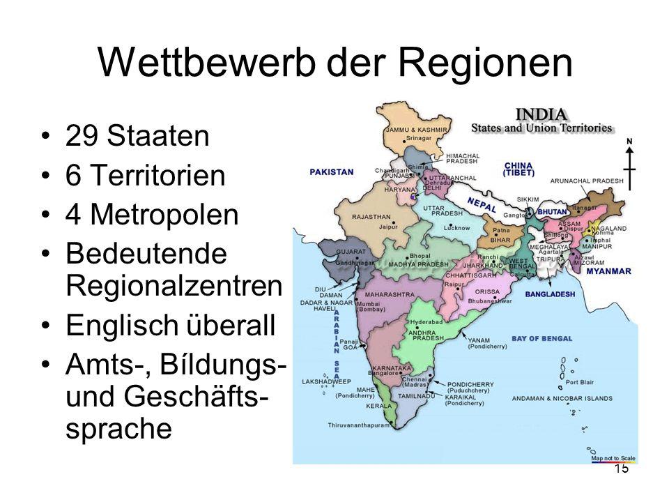15 Wettbewerb der Regionen 29 Staaten 6 Territorien 4 Metropolen Bedeutende Regionalzentren Englisch überall Amts-, Bíldungs- und Geschäfts- sprache