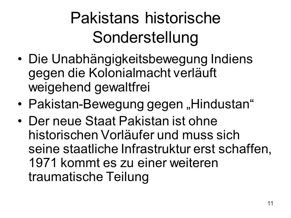 11 Pakistans historische Sonderstellung Die Unabhängigkeitsbewegung Indiens gegen die Kolonialmacht verläuft weigehend gewaltfrei Pakistan-Bewegung ge