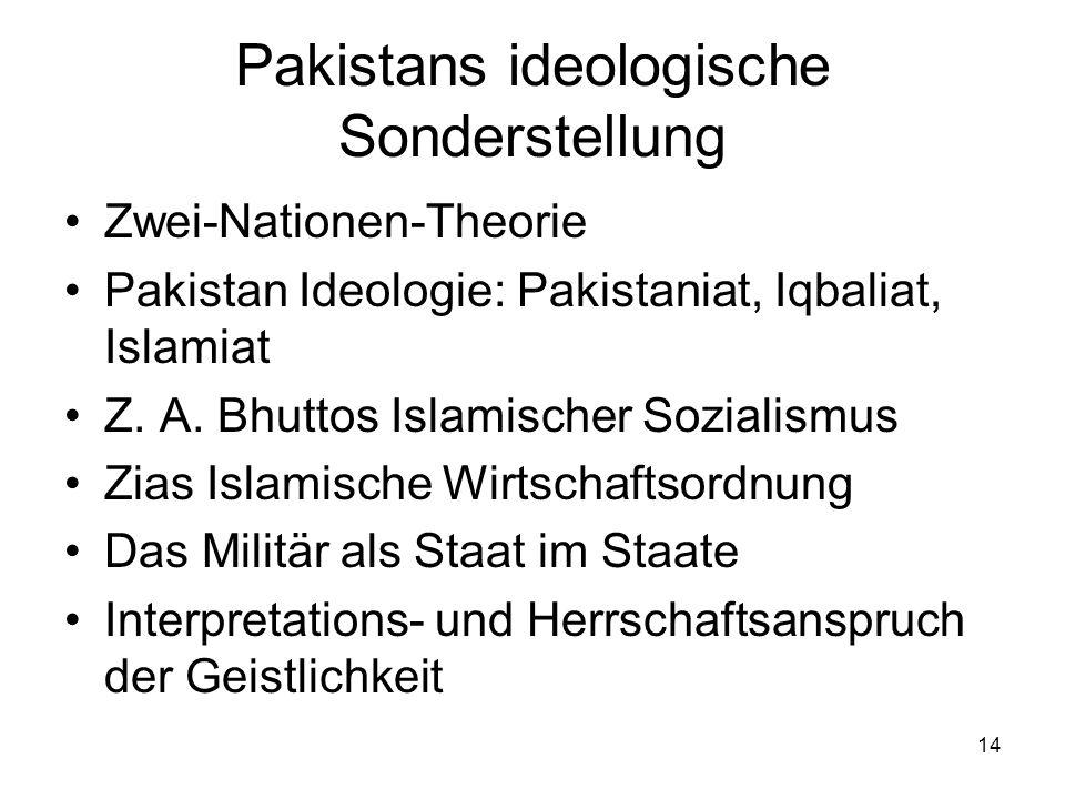 14 Pakistans ideologische Sonderstellung Zwei-Nationen-Theorie Pakistan Ideologie: Pakistaniat, Iqbaliat, Islamiat Z. A. Bhuttos Islamischer Sozialism