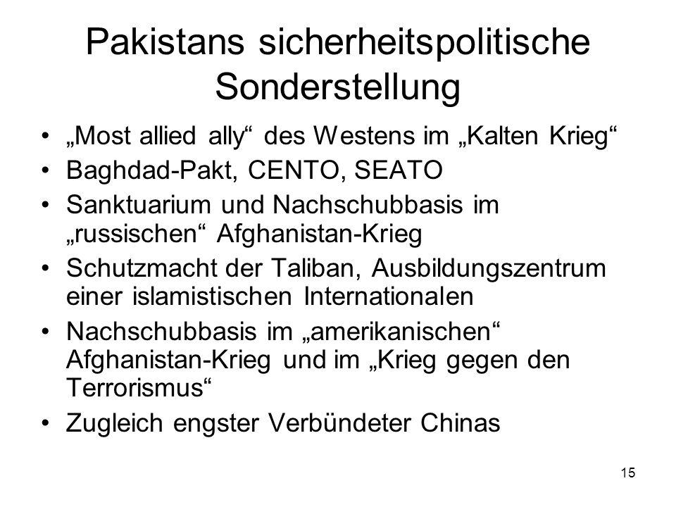15 Pakistans sicherheitspolitische Sonderstellung Most allied ally des Westens im Kalten Krieg Baghdad-Pakt, CENTO, SEATO Sanktuarium und Nachschubbas