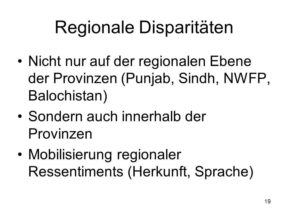19 Regionale Disparitäten Nicht nur auf der regionalen Ebene der Provinzen (Punjab, Sindh, NWFP, Balochistan) Sondern auch innerhalb der Provinzen Mob