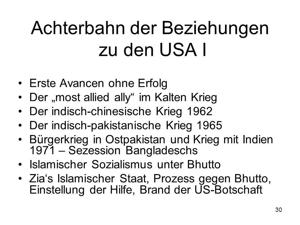 30 Achterbahn der Beziehungen zu den USA I Erste Avancen ohne Erfolg Der most allied ally im Kalten Krieg Der indisch-chinesische Krieg 1962 Der indis