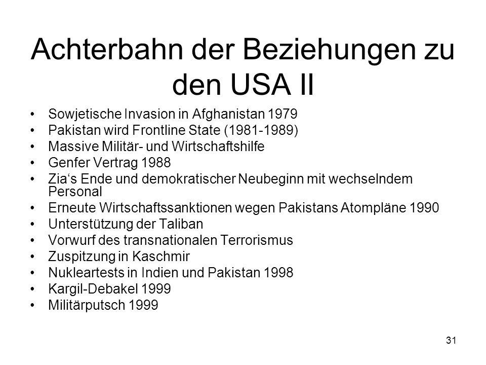 31 Achterbahn der Beziehungen zu den USA II Sowjetische Invasion in Afghanistan 1979 Pakistan wird Frontline State (1981-1989) Massive Militär- und Wi