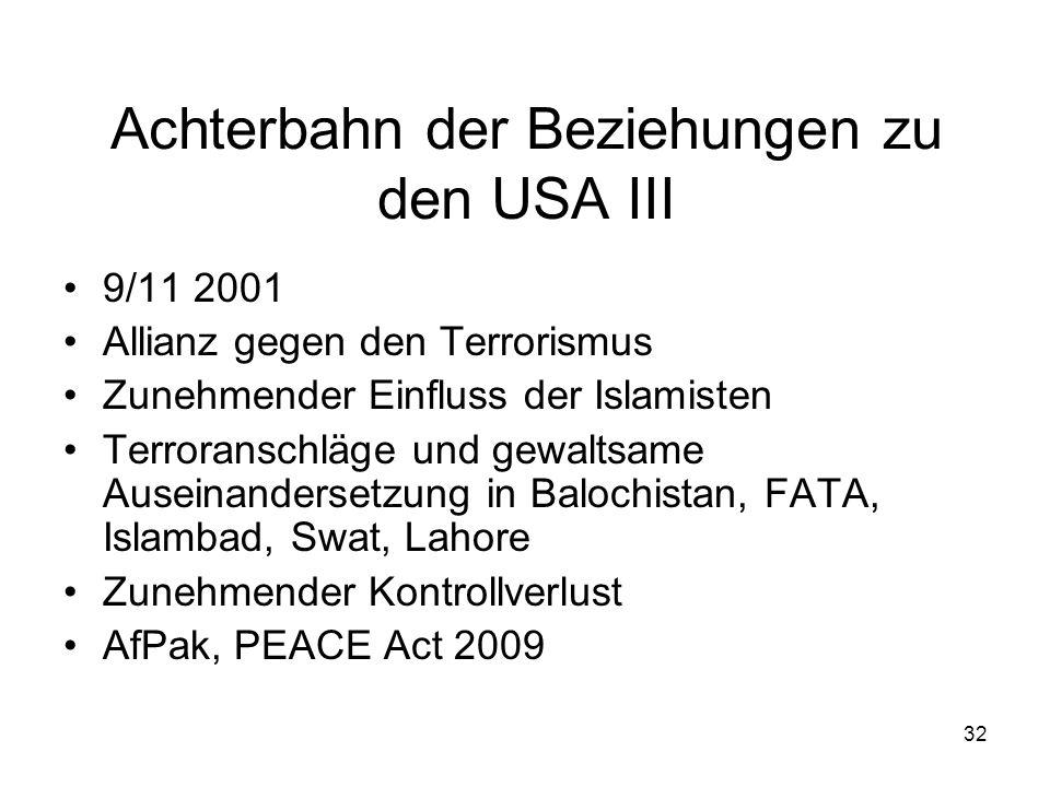 32 Achterbahn der Beziehungen zu den USA III 9/11 2001 Allianz gegen den Terrorismus Zunehmender Einfluss der Islamisten Terroranschläge und gewaltsam