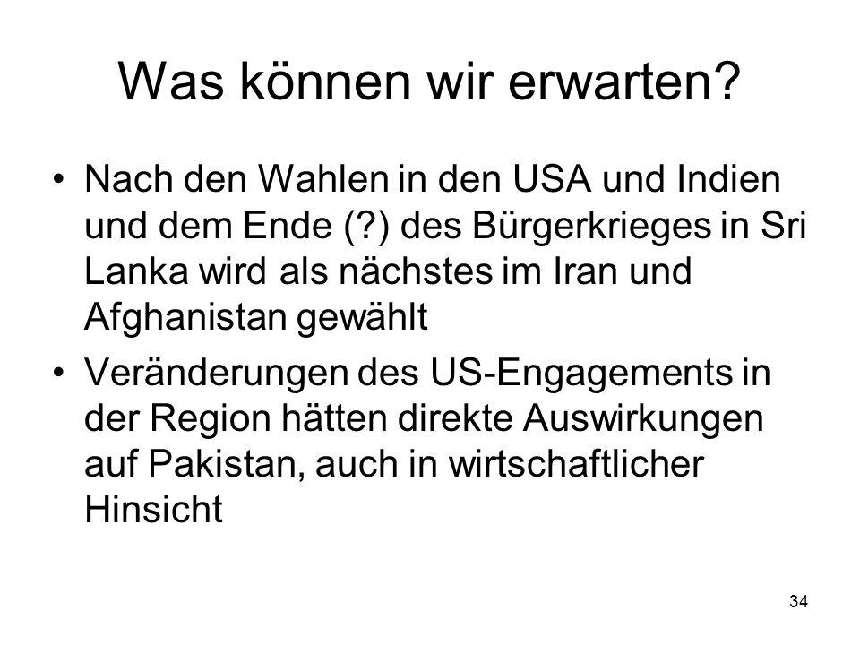 34 Was können wir erwarten? Nach den Wahlen in den USA und Indien und dem Ende (?) des Bürgerkrieges in Sri Lanka wird als nächstes im Iran und Afghan
