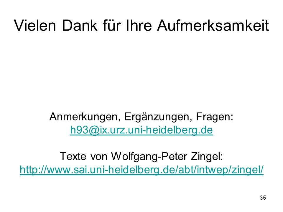 35 Vielen Dank für Ihre Aufmerksamkeit Anmerkungen, Ergänzungen, Fragen: h93@ix.urz.uni-heidelberg.de Texte von Wolfgang-Peter Zingel: http://www.sai.