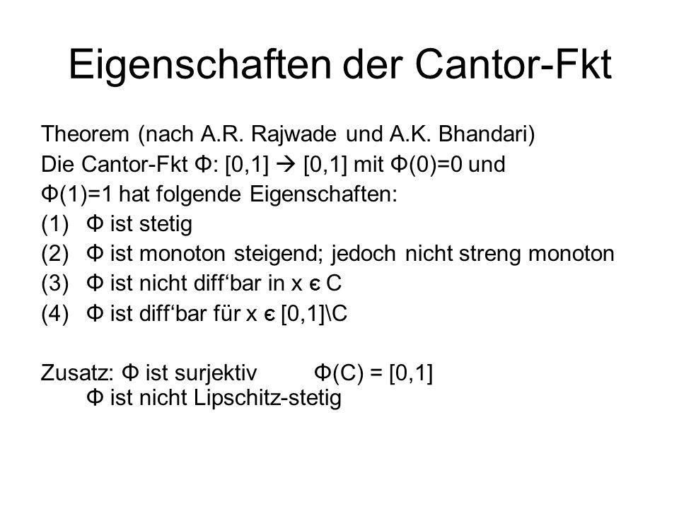Eigenschaften der Cantor-Fkt Theorem (nach A.R.Rajwade und A.K.