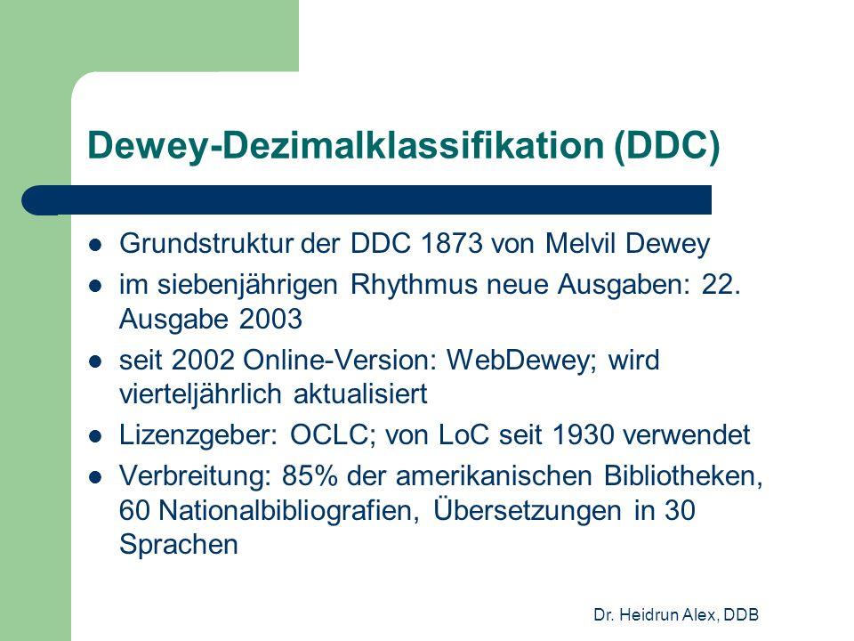 Dr. Heidrun Alex, DDB Dewey-Dezimalklassifikation (DDC) Grundstruktur der DDC 1873 von Melvil Dewey im siebenjährigen Rhythmus neue Ausgaben: 22. Ausg