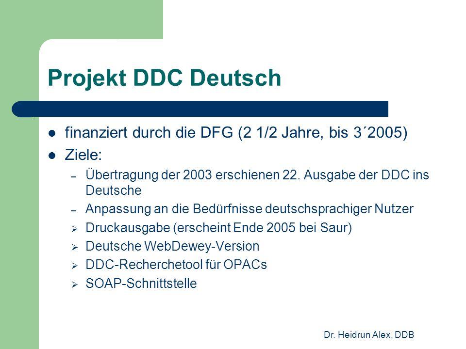 Dr. Heidrun Alex, DDB Projekt DDC Deutsch finanziert durch die DFG (2 1/2 Jahre, bis 3´2005) Ziele: – Übertragung der 2003 erschienen 22. Ausgabe der