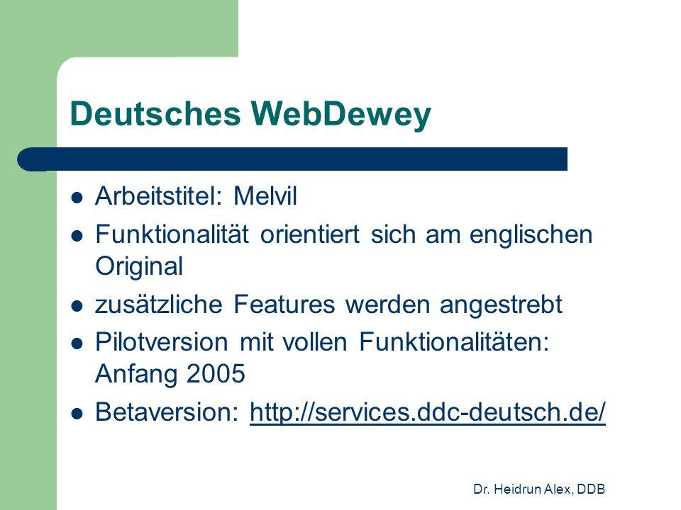 Dr. Heidrun Alex, DDB Deutsches WebDewey Arbeitstitel: Melvil Funktionalität orientiert sich am englischen Original zusätzliche Features werden angest
