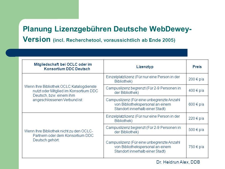 Dr. Heidrun Alex, DDB Planung Lizenzgebühren Deutsche WebDewey- Version (incl.