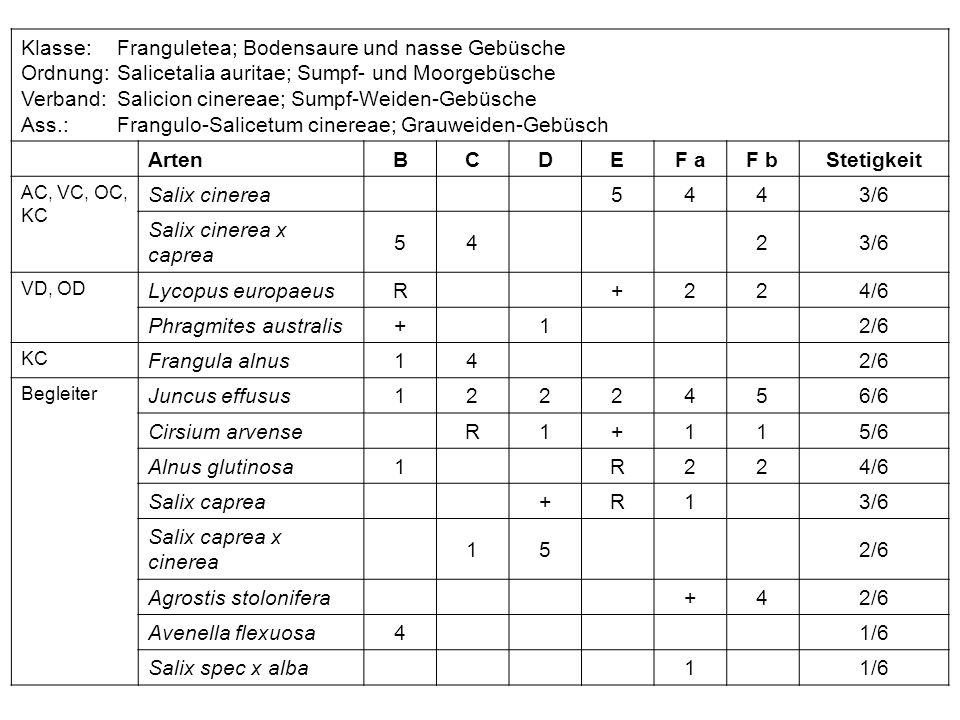Klasse:Franguletea; Bodensaure und nasse Gebüsche Ordnung:Salicetalia auritae; Sumpf- und Moorgebüsche Verband:Salicion cinereae; Sumpf-Weiden-Gebüsch