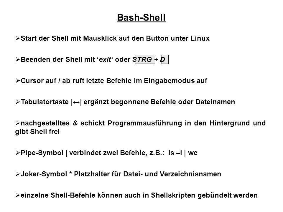 Bash-Shell Start der Shell mit Mausklick auf den Button unter Linux Beenden der Shell mit exit oder STRG + D Cursor auf / ab ruft letzte Befehle im Ei