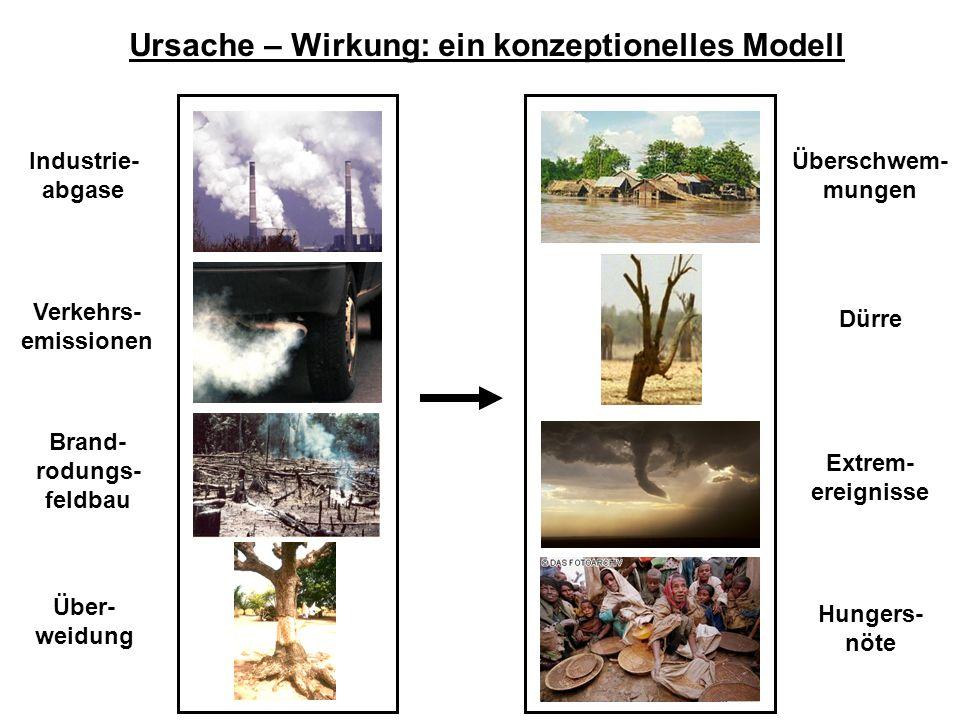 Ursache – Wirkung: ein konzeptionelles Modell Industrie- abgase Verkehrs- emissionen Brand- rodungs- feldbau Über- weidung Überschwem- mungen Dürre Ex