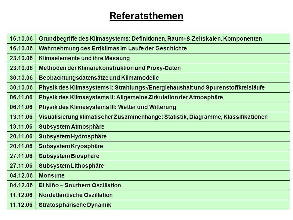 Referatsthemen 16.10.06Grundbegriffe des Klimasystems: Definitionen, Raum- & Zeitskalen, Komponenten 16.10.06Wahrnehmung des Erdklimas im Laufe der Ge