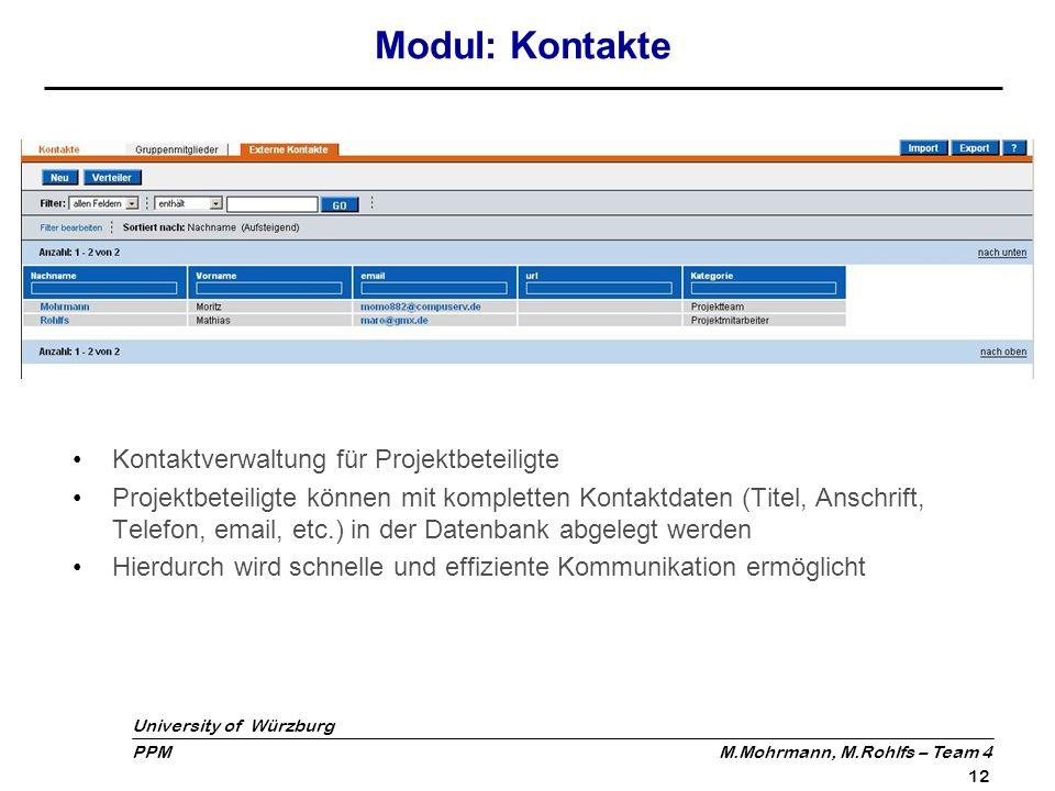 University of Würzburg PPM M.Mohrmann, M.Rohlfs – Team 4 12 Modul: Kontakte Kontaktverwaltung für Projektbeteiligte Projektbeteiligte können mit kompl