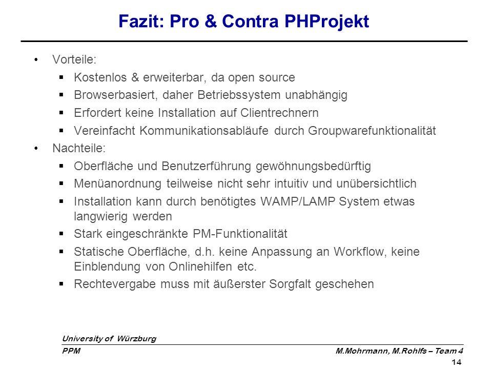 University of Würzburg PPM M.Mohrmann, M.Rohlfs – Team 4 14 Fazit: Pro & Contra PHProjekt Vorteile: Kostenlos & erweiterbar, da open source Browserbas