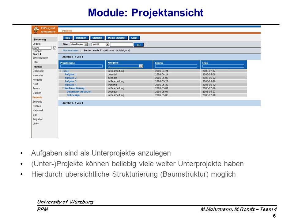 University of Würzburg PPM M.Mohrmann, M.Rohlfs – Team 4 7 Module: Projektansicht - Gantt