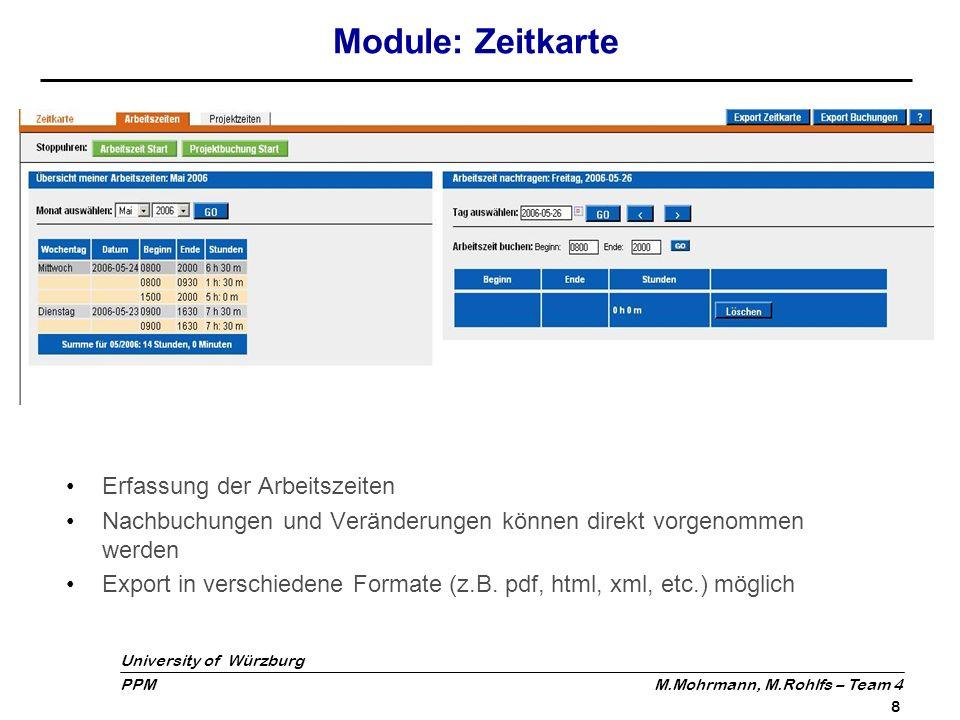University of Würzburg PPM M.Mohrmann, M.Rohlfs – Team 4 9 Module: Dateien Ermöglicht Austausch von Dateien unter einzelnen Projektbeteiligten Projektmitarbeiter können Dateien auf zentralen Server laden Dateien können von Projektbeteiligten heruntergeladen werden