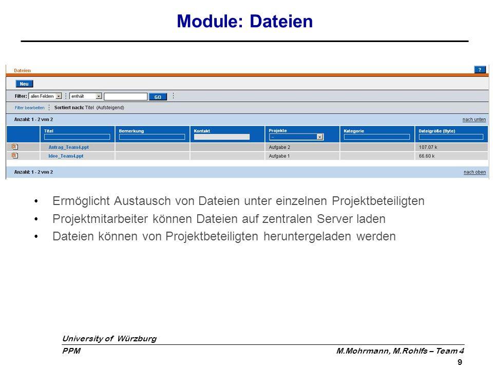 University of Würzburg PPM M.Mohrmann, M.Rohlfs – Team 4 10 Module: Forum Foren können unabhängig von Projekten angelegt werden Benutzer können Beiträge schreiben und auf Beiträge antworten Anordnung der Beiträge und Antworten hierarchisch in Baumstruktur
