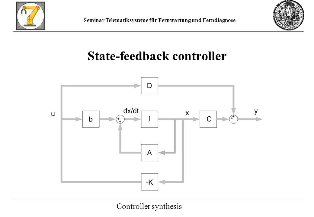 Seminar Telematiksysteme für Fernwartung und Ferndiagnose State-feedback controller Controller synthesis