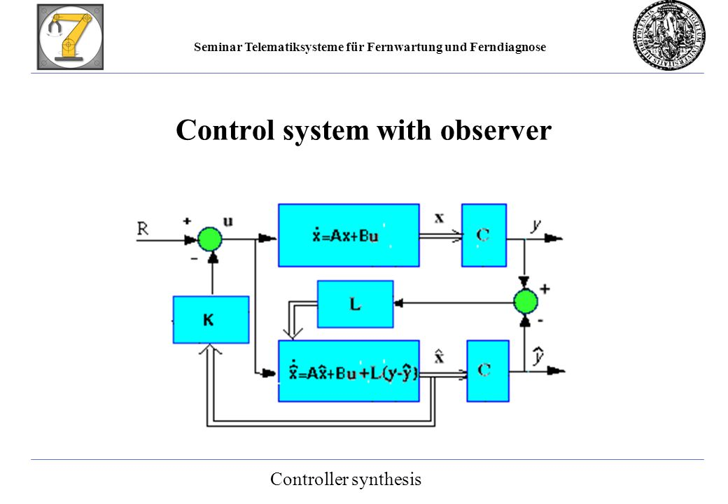 Seminar Telematiksysteme für Fernwartung und Ferndiagnose Control system with observer Controller synthesis