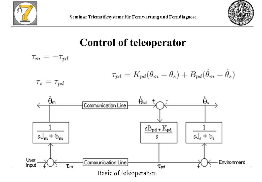 Seminar Telematiksysteme für Fernwartung und Ferndiagnose Control of teleoperator Basic of teleoperation