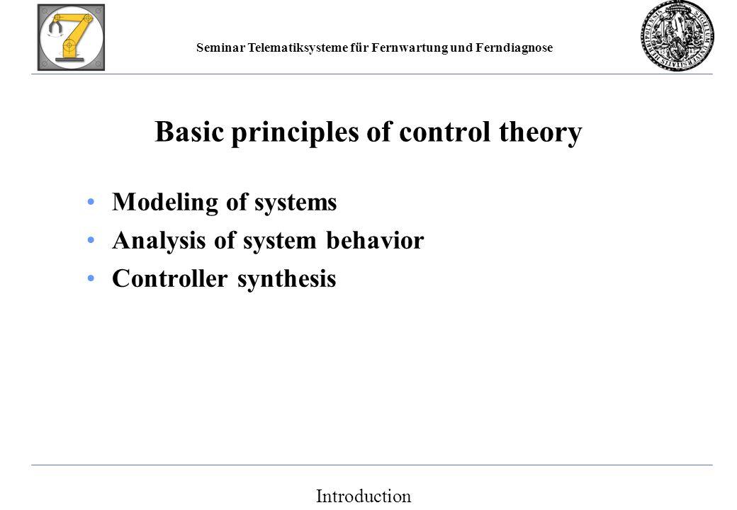 Seminar Telematiksysteme für Fernwartung und Ferndiagnose Main references Lunze, J.