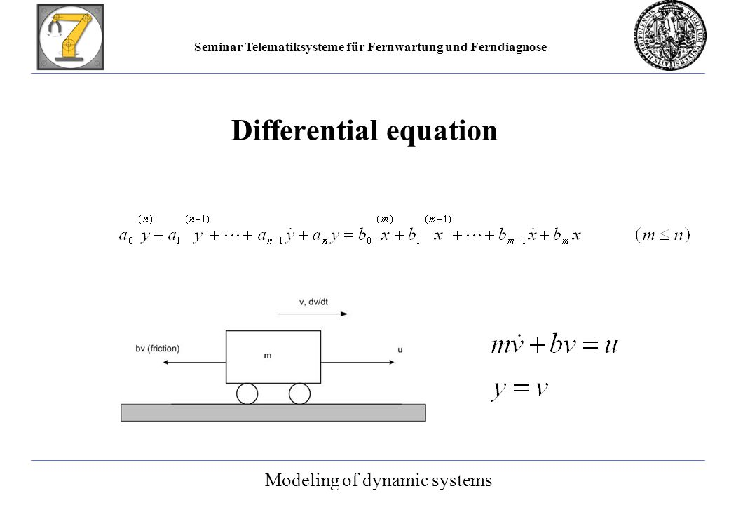Seminar Telematiksysteme für Fernwartung und Ferndiagnose Differential equation Modeling of dynamic systems