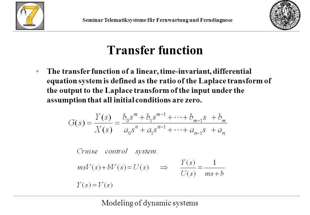 Seminar Telematiksysteme für Fernwartung und Ferndiagnose Control system with observer Controller synthesis
