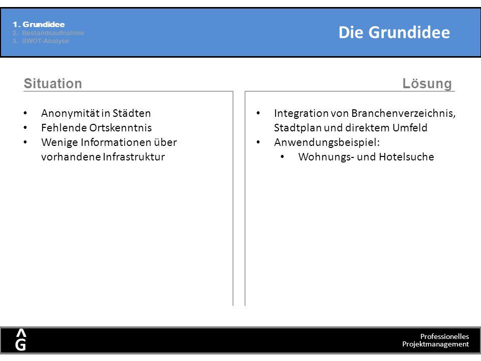 Professionelles Projektmanagement G ^ Die Grundidee 1. Grundidee 2. Bestandsaufnahme 3. SWOT-Analyse SituationLösung Anonymität in Städten Fehlende Or