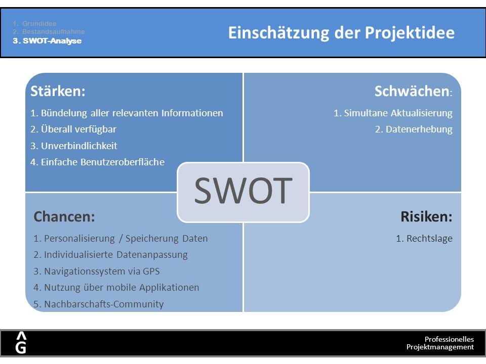 Professionelles Projektmanagement G ^ Einschätzung der Projektidee Stärken: 1. Bündelung aller relevanten Informationen 2. Überall verfügbar 3. Unverb