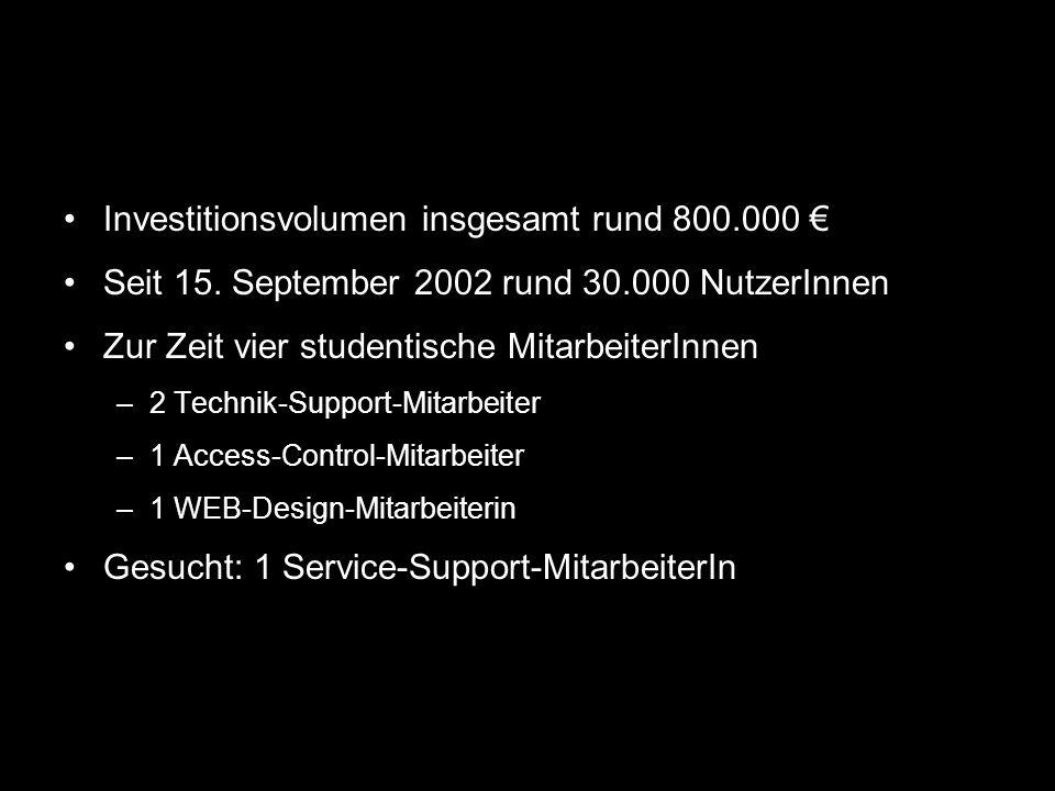 Investitionsvolumen insgesamt rund 800.000 Seit 15. September 2002 rund 30.000 NutzerInnen Zur Zeit vier studentische MitarbeiterInnen –2 Technik-Supp
