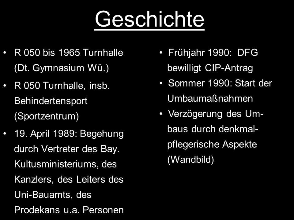 Geschichte R 050 bis 1965 Turnhalle (Dt. Gymnasium Wü.) R 050 Turnhalle, insb. Behindertensport (Sportzentrum) 19. April 1989: Begehung durch Vertrete