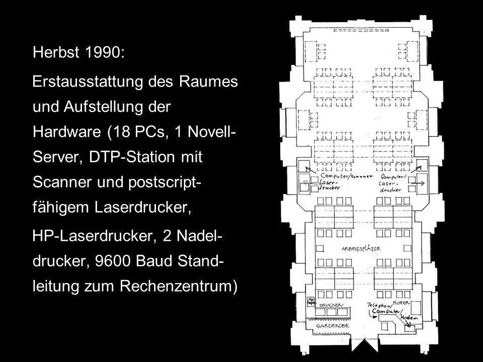 Februar 1996: Ersatzbeschaffung der Hardware (Finanzierung durch DFG-Antrag); Ausstattung: 26 PCs, 1 DTP-System, ein Novell- Server, 2 Laserdrucker, 2 Nadeldrucker; mit diesem Equipement sind der OPAC, die CD-Rom- Datenbanken der UB, Email, Internet und die Hardware- Ressourcen des RZ nutzbar.