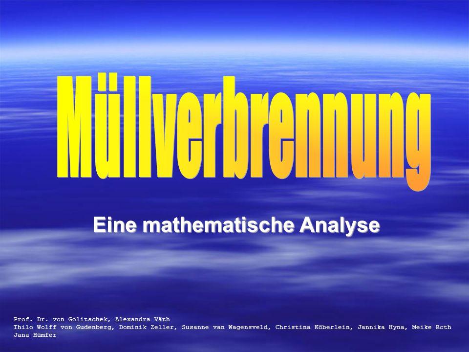 Eine mathematische Analyse Prof. Dr. von Golitschek, Alexandra Väth Thilo Wolff von Gudenberg, Dominik Zeller, Susanne van Wagensveld, Christina Köber