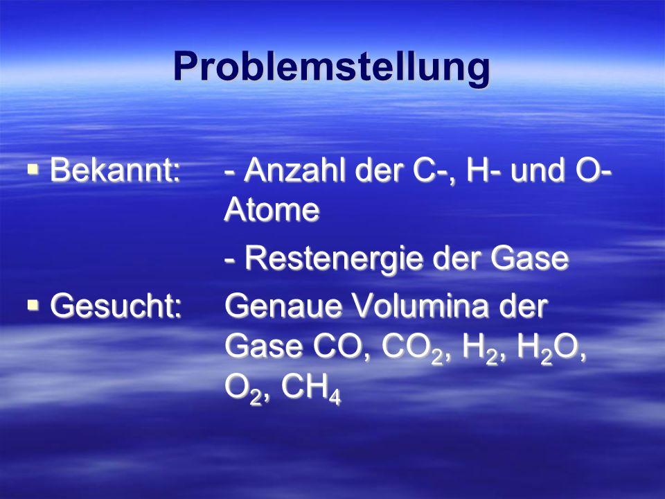 Gleichungssystem Es ergibt sich mit den Angaben folgendes Gleichungssystem: C = CO + CO 2 + CH 4 O = CO + 2CO 2 + H 2 O + 2O 2 Es ergibt sich mit den Angaben folgendes Gleichungssystem: C = CO + CO 2 + CH 4 O = CO + 2CO 2 + H 2 O + 2O 2 H = 2H 2 + 2H 2 O + 4CH 4 Hu= ρ(CO) + ρ(H 2 ) + ρ(CH 4 ) unterbestimmt.