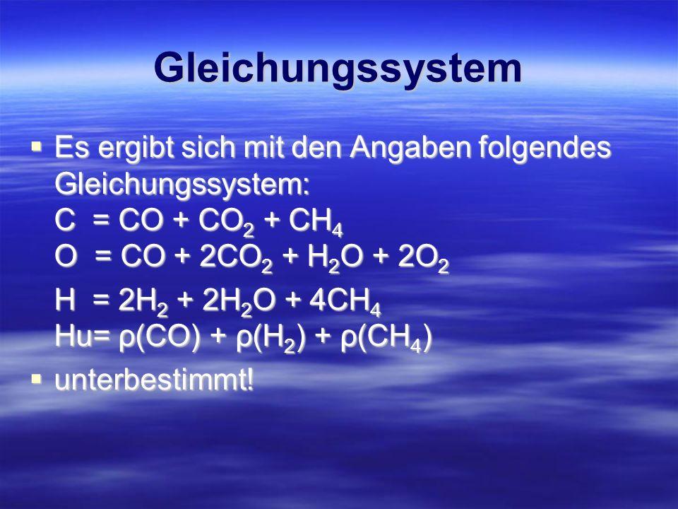 Gleichungssystem Es ergibt sich mit den Angaben folgendes Gleichungssystem: C = CO + CO 2 + CH 4 O = CO + 2CO 2 + H 2 O + 2O 2 Es ergibt sich mit den
