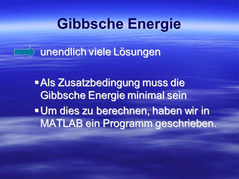 Gibbsche Energie unendlich viele Lösungen Als Zusatzbedingung muss die Gibbsche Energie minimal sein Als Zusatzbedingung muss die Gibbsche Energie min