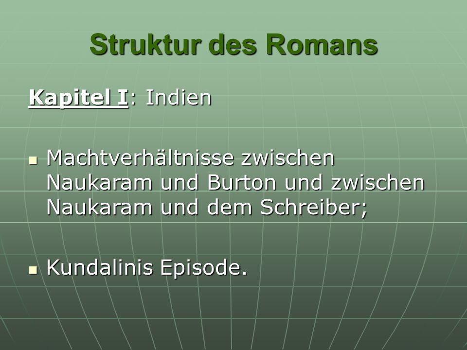 Struktur des Romans Kapitel I: Indien Machtverhältnisse zwischen Naukaram und Burton und zwischen Naukaram und dem Schreiber; Machtverhältnisse zwisch