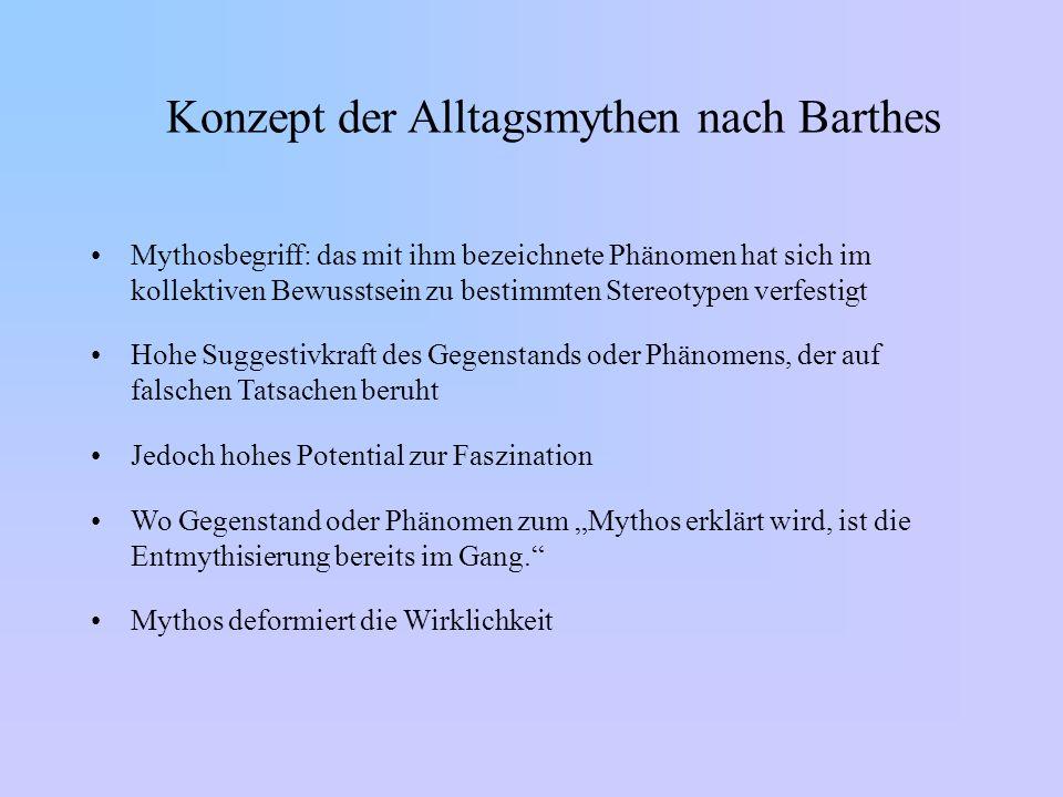Konzept der Alltagsmythen nach Barthes Mythosbegriff: das mit ihm bezeichnete Phänomen hat sich im kollektiven Bewusstsein zu bestimmten Stereotypen v