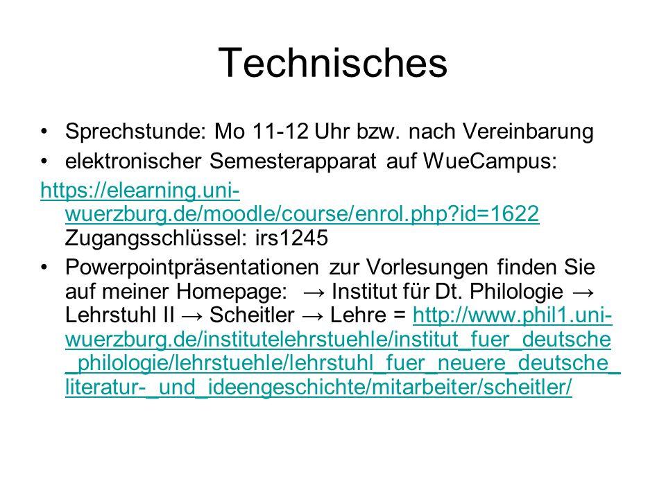 Technisches Sprechstunde: Mo 11-12 Uhr bzw.