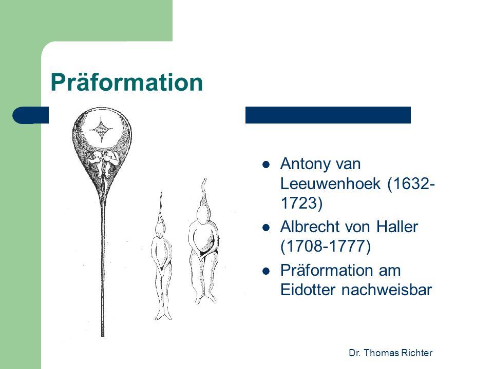 Dr. Thomas Richter Präformation Antony van Leeuwenhoek (1632- 1723) Albrecht von Haller (1708-1777) Präformation am Eidotter nachweisbar