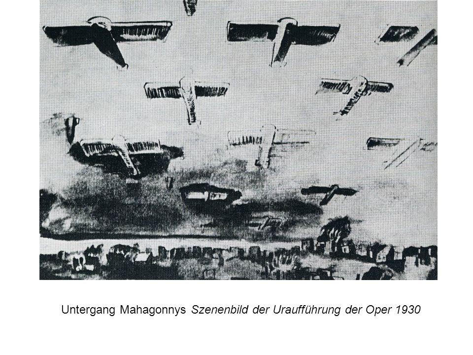 Untergang Mahagonnys Szenenbild der Uraufführung der Oper 1930