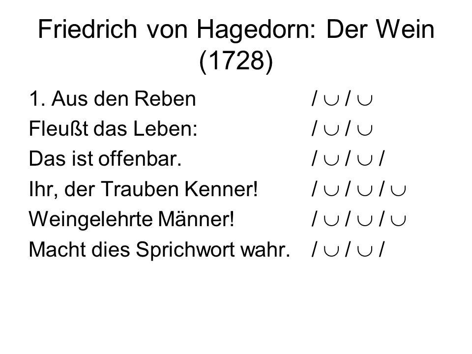Friedrich von Hagedorn: Der Wein (1728) 1. Aus den Reben / / Fleußt das Leben:/ / Das ist offenbar./ / / Ihr, der Trauben Kenner!/ / / Weingelehrte Mä