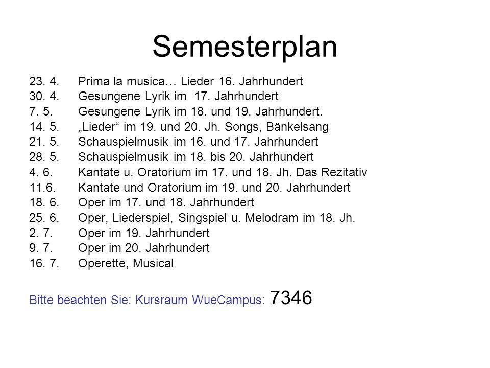 Semesterplan 23. 4. Prima la musica… Lieder 16. Jahrhundert 30. 4. Gesungene Lyrik im 17. Jahrhundert 7. 5. Gesungene Lyrik im 18. und 19. Jahrhundert