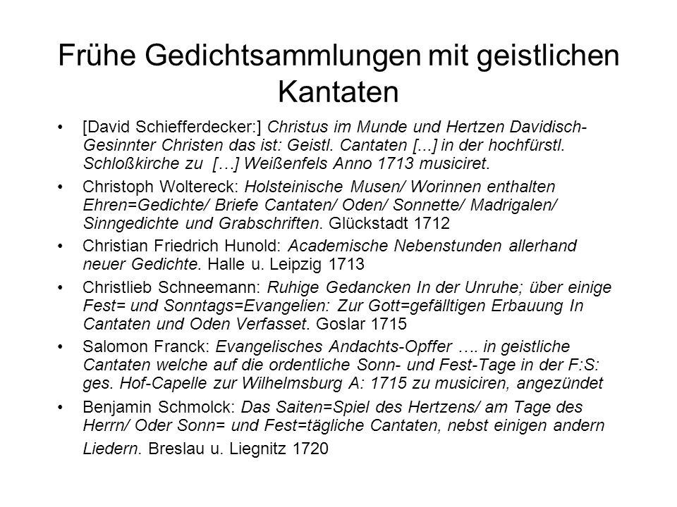 Frühe Gedichtsammlungen mit geistlichen Kantaten [David Schiefferdecker:] Christus im Munde und Hertzen Davidisch- Gesinnter Christen das ist: Geistl.
